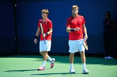 Brothers Christian and Ryan Harrison (USA)in action at the US Open against Mariusz Fyrstenberg (POL)[4] /   Marcin Matkowski(POL)[4] in the first round. - Andrew Ong/USTA