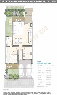 Ground Floor Plan is part of Architectural house plans - Narrow House Designs, Narrow House Plans, Small House Floor Plans, Best House Plans, Modern House Plans, House Layout Plans, Duplex House Plans, House Layouts, Apartment Floor Plans