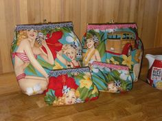 Alexander Henry pin up fabric clutch bag by Sew Good Bags