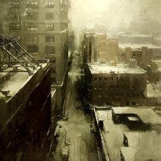 "WEBSTA @ redrabbit7 - ""Winter, North Brooklyn.""20 x 20 in. - oil on panel."
