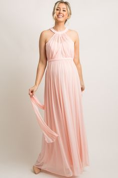 Maternity Evening Gowns, Maternity Dresses, Maternity Clothing, Vestidos Halter, Maternity Fashion, Maternity Style, Pregnancy Looks, Mommy Style, Pink Blush Maternity
