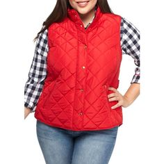 6d094fb3bec Crown Ivy Red Solid Puffer Vest - Women s ( 58) ❤ liked on Polyvore  featuring