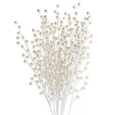 Factory Direct Craft Package of 12 White Pearl Berry Floral Sprays