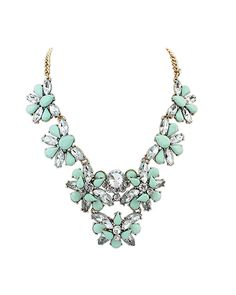 Light Green Gemstone Multi-Floral Collar Necklace AC0020132-2