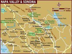 Napa & Sonoma area map Napa Map, Napa Valley Map, Napa Valley Wine Train, Sonoma Valley, Napa California, Northern California, Napa Sonoma, State Forest, Wine Country