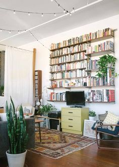 Livingroom Bookself Bohemian Loft California Apartment of Jessica Levitz