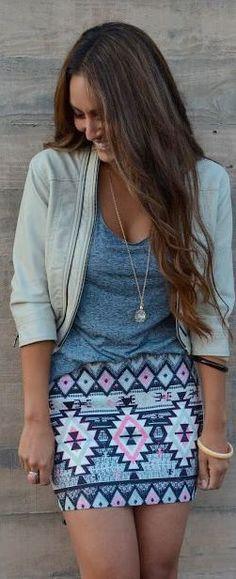 Pink & Blue Aztec Print Skirt