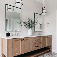 Master Bathroom Vanity, Small Bathroom, Master Baths, Bathroom With Black Cabinets, Bathroom With Wood Floor, Bathroom Wood Wall, Master Bathroom Designs, Black And White Master Bathroom, Bathroom Lights Over Mirror