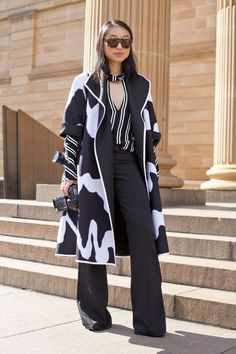 We're loving Margaret Zhang's style. Come check out the street style star's best 30 outfits, like this bold, graphic black and white coat