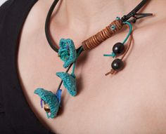 Black Leather Necklace withTurquoise Crocheted Flowers. €45.00, via Etsy.