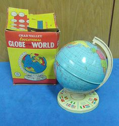 Vintage CHAD VALLEY Tin Plate Globe with Flags