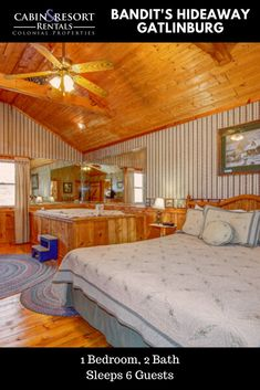 Plan a terrific vacation getaway at Bandit's Hideaway! This spacious Gatlinburg TN cabin has 2 fireplace, screened porch, hot tub, jetted tub and more!