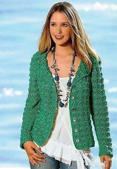 crochelinhasagulhas: Casaco verde em crochê