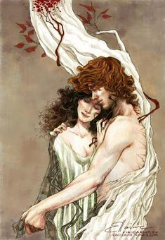 """joaellaine: """" 'Ye are Blood of my Blood, and Bone of my Bone. I give ye my Body, that we Two might be One. I give ye my Spirit, 'til our Life shall be Done.' Diana Gabaldon - """"Outlander"""" Print and. Jamie Fraser, Claire Fraser, E Claire, Jamie And Claire, Starz Series, Outlander Series, Tv Series, Sam Heughan, Outlander Fan Art"""