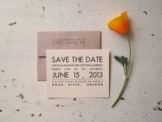 Save the Date - Letterpress Card Set - Rustic Modern Wedding Announcements (50). $300.00, via Etsy.