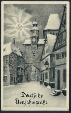 German Happy New Year PC with a bright swastika sun over a snow covered town clock tower winter scene. Used Oberrosbach 1-1-1939