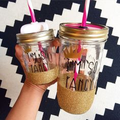 I'm So Fancy Mason Jar Tumbler Personalized Tumbler Glitter Dipped... ($40) ❤ liked on Polyvore featuring home, kitchen & dining, drinkware, drink & barware, gold, home & living, tumblers & water glasses, personalized double wall tumbler, colored jars and glitter jars