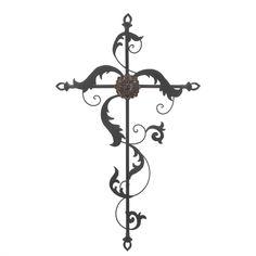 Baroque Wall Iron Cross Flower Crucifix Spiritual Divine Ornament Decor S New #HomeLocomotion