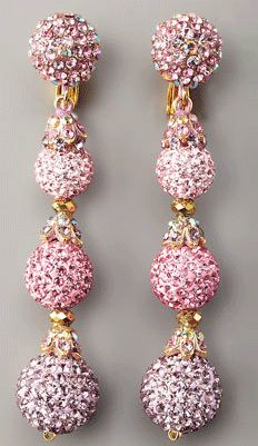 Jose , Maria Barrera Pave Drop Earrings In Light Pink.found at Bergdorf Goodman. Pink Jewelry, Jewelry Gifts, Jewelery, Ear Jewelry, Jewelry Accessories, Fashion Accessories, Jewelry Making, Pink Earrings, Drop Earrings