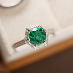 Green emerald ring engagement ring gemstoen emerald by LuoJewelry