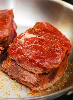 How to prepare pan-seared steak with a nice caramelized brown crust, rare to medium rare inside - on the stove top, then in the oven. Plus, a recipe for a completely gluten-free steak dinner, including side dishes, such as mushrooms sauteed in wine and cream, and other veggies