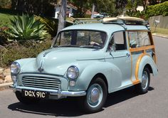 Morris Minors are just the cutest little English cars. Morris made a convertible ve… Morris Traveller, Automobile, Morris Minor, Small Cars, Convertible, Classic Cars, British, Supreme, Vehicles