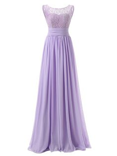 A-line Scoop Neck Lace Chiffon with Ruffles Floor-length Modest Bridesmaid Dresses