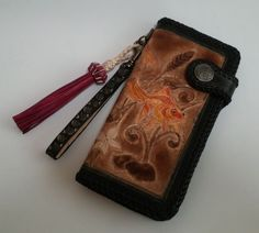 Goldfish Carving Handmade Genuine Leather Womens Long Wallet  #LEONARDOVECHERLEATHER #LongWallet