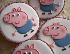 """Biscotti Peppa Pig """"George"""" Pig Cupcakes, Pig Cookies, Baby Cookies, Cupcake Party, Sugar Cookies, Cupcake Cakes, Bolo Da Peppa Pig, Peppa Pig Birthday Cake, Peppa Pug"""