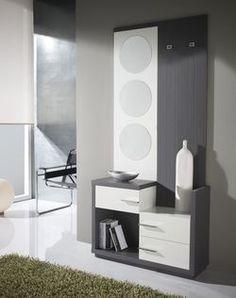 Meuble d'entrée moderne + miroirs DONATELLA, disponible en 2 coloris