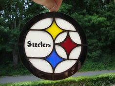 Stained glass Pittsburgh Steelers logo by GlassBrilliance on Etsy, $20.00