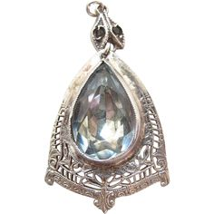 Vintage Art Deco Period Sterling Silver Filigree Blue Topaz Glass from thevintagegenie on Ruby Lane