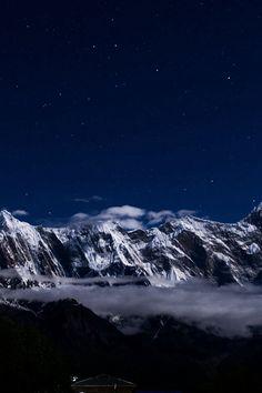 Mountain Snow Dark Winter Sky Star #iPhone #4s #wallpaper