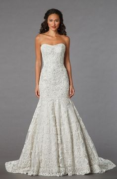 Danielle Caprese - Strapless Mermaid Gown in Beaded Lace