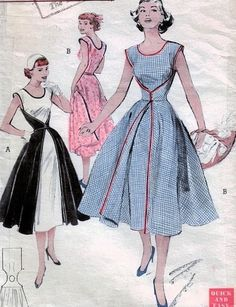 1950s Rare Walk Away Dress Pattern Butterick 6015 Vintage Sewing Pattern Start Sewing In Morning Wear It In Afternoon Super Easy and Quick Pattern