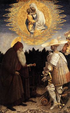❤ - PISANELLO (1395 – 1455) - Apparition of the Virgin to Sts Anthony Abbot and George. National Gallery, London.