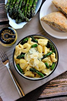 Easy and not to bad.This Tortellini with Mustard Cream sauce combines cheese tortellini, asparagus and a creamy mustard sauce that is suitable for every mustard lover! Dijon Mustard Sauce, Creamy Mustard Sauce, Vegetarian Recipes, Healthy Recipes, Healthy Food, Cold Lunches, Cheese Tortellini, Create A Recipe, Recipes