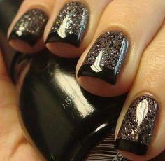 Black glitter French mani.