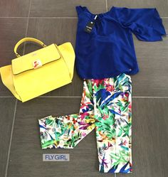 "Scopri la nostra collezione estiva ""Elegance of Flower""!  #modadonna #fashion #fashionstyle #woman #casual #outfit #blu #yellow #bag #flowers"