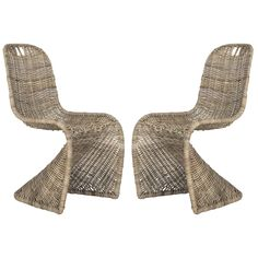 Woven rattan gets a striking new silhouette with this set of two grey dining chairs in a fashion-forward zigzag design. Crafted of sustainable kubu rattan, this unique design brings a touch of whimsy