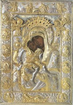 """Icon of the Mother of God """"Axion Estin,"""" preserved in the Church of the Protaton in Karyes on Mount Athos Religious Icons, Religious Art, Paintings Of Christ, Russian Icons, Flat Picture, Blessed Mother Mary, Papa Francisco, Orthodox Icons, Sacred Art"""