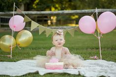 year session - smash cake - birthday - pink/gold - photography - Photography by Deanna Michele First Birthday Photos Girl, 1st Birthday Cake For Girls, 1st Birthday Photoshoot, Girl Birthday Decorations, 1st Birthday Pictures, 1st Birthday Cake Smash, Girl Birthday Themes, Baby First Birthday, First Birthday Parties
