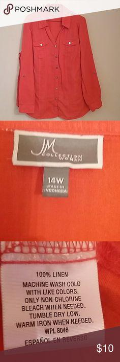 JM Collection Linen Coral Blouse JM Collection Linen Coral Blouse JM Collection Tops Button Down Shirts