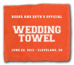 Either silkscreened in 1-color or 2-color designs, our wedding towels are the ultimate sports fan giveaway for your Football Themed Wedding!  Just pair up the right team colors and you're good to go!  SportsThemedWeddings.com  #sportswedding  #stwdotcom