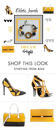 """black and yellow - Ekletic Jewels"" by sandychic on Polyvore featuring moda, ISLO, Giuseppe Zanotti, Charles Jourdan e Diane Von Furstenberg"