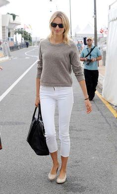 Women's Grey Blazer, White V-neck T-shirt, White Skinny Jeans ...