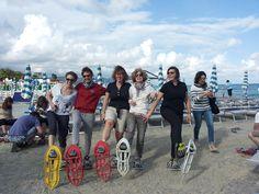 Si parte! Ciaspole in spiaggia, Bagni Virginia, Loano, Liguria, #TrentinRiviera