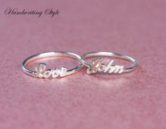 Handcrafted Initial Name Ring, Name Ring, Custom Ring - Sterling Silver