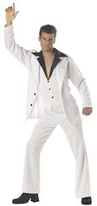 California Costumes Men's Saturday Night Fever Costume: Oh What a Groovy Night! Get Your Dancin' Shoes Out, Get Funky in Our Fun Retro Men's Saturday Night Fever Costume Suit. Costume includes Jacket, Pants, Vest with Attached collar. Costume Disco, 70s Costume, Hippie Costume, 70s Halloween Costumes, Adult Costumes, Adult Halloween, Vampire Costumes, Halloween Ideas, Abba Costumes