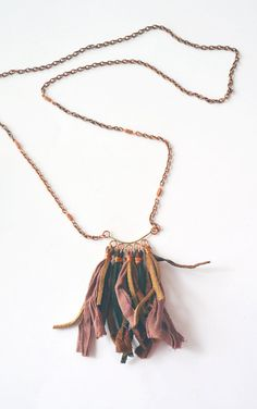 This cool Bohemian necklace is made with copper and Indian sari silk. It is unique and so boho!  It hangs approximately 20  More Necklaces: